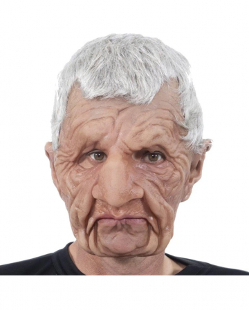 Grandfather Full Head Mask With Grey Hair