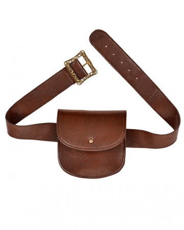 Belt With Bag In Leather Look Brown