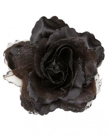 Schwarze Glitzer-Rose Haarspange
