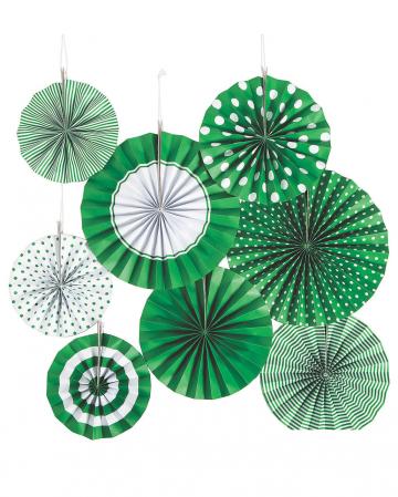 Deko Fächer Papierrosette Hängedeko Set 8 St. Grün Weiß