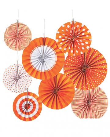 Hanging Decoration Fan Set Orange White 8pcs.