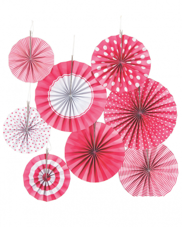 Deko Fächer Papierrosette Hängedeko Set 8 St. Pink Weiß