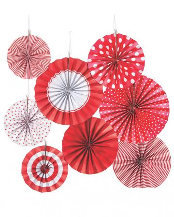 Deko Fächer Papierrosette Hängedeko Set 8 St. Rot Weiß