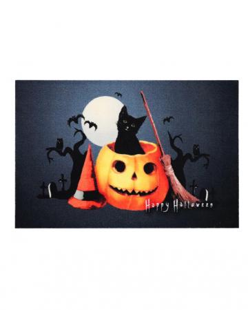 Halloween Fußabstreifer mit Kürbis & Katze Motiv
