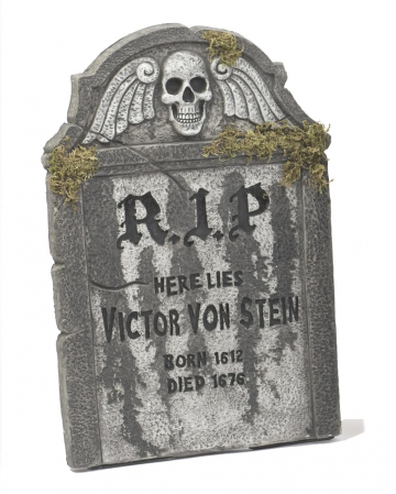 Halloween tombstone RIP with dead skull 55cm