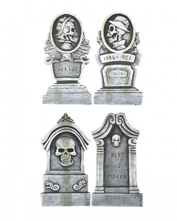 "4-piece Halloween Tombstone Set ""Romantic"