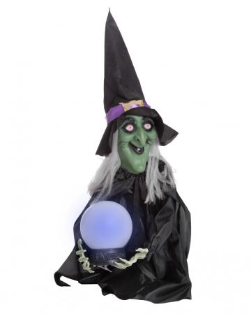 Walpurgisnacht Hexe mit Zauberkugel 58cm