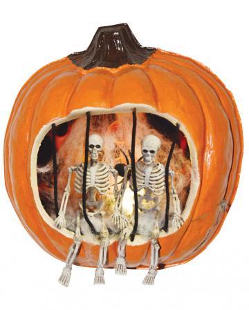 Halloween Kürbis mit inhaftiertem Skelett