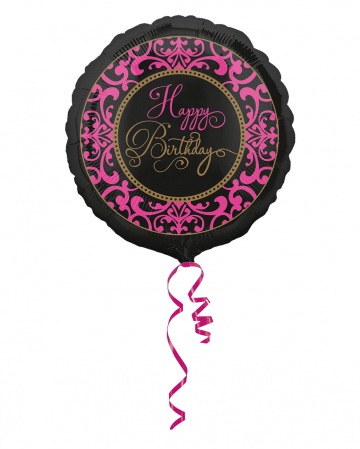 Happy Birthday Foil Balloon Black-pink 43cm