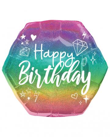 Happy Birthday Holographic Glitter Folienballon