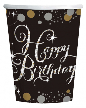 Happy Birthday Paper Cup Glamor 8 St.