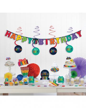 Happy Birthday Partydeko Set Regenbogen 17-tlg.