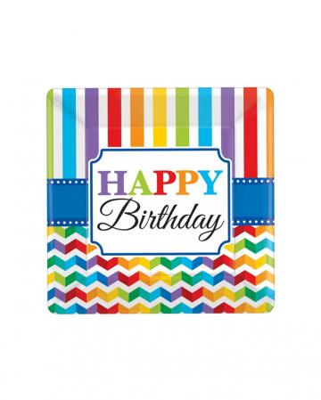 Happy Birthday Rainbow Paper Plate 8 Pc (s)