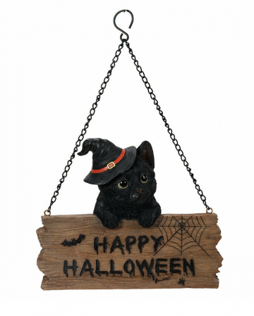 Kätzchen mit Happy Halloween Schild