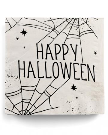 Happy Halloween Servietten mit Spinnweben Motiv 16 St.
