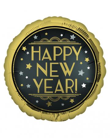 Happy New Year Satin Black & Gold Folienballon