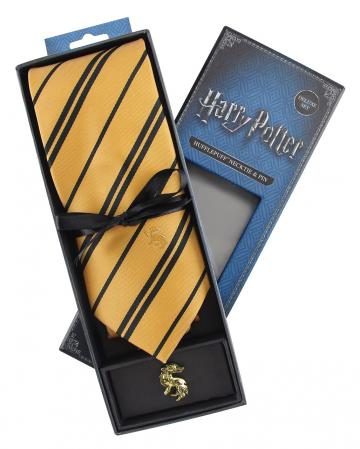 Hufflepuff Krawatte mit Pin - Harry Potter