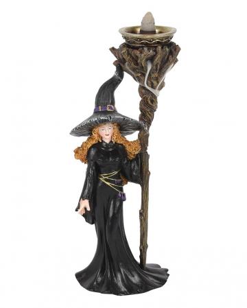 Hexe mit Magierstab Backflow Räucherkegelhalter