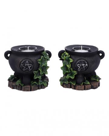 Hexenkessel mit Efeu Kerzenhalter 2er Set