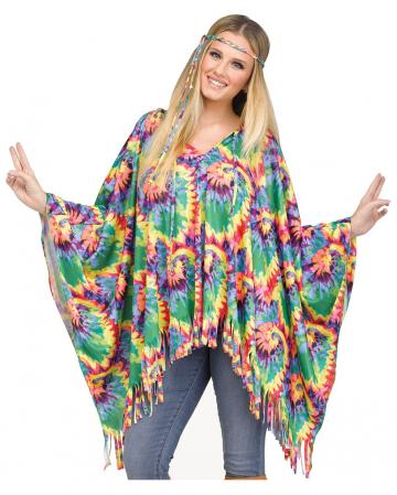 Poncho mit Haarband für Hippies