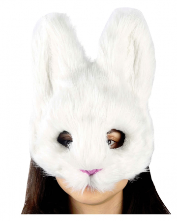 Fluffy rabbit mask over white
