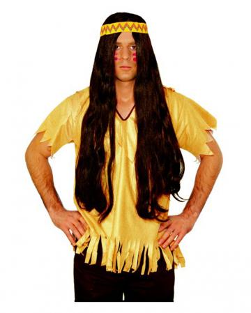 Braune Indianer Perücke mit Haarband