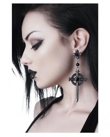 KILLSTAR Rosary Earrings With Cross