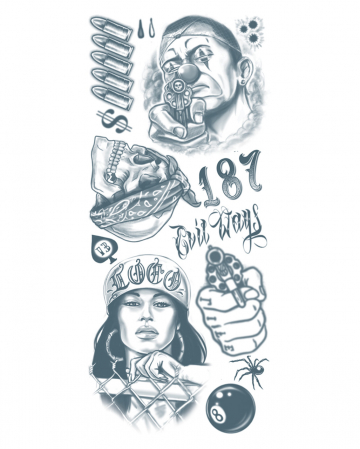 Glue Tattoo Set With Gangster Motives