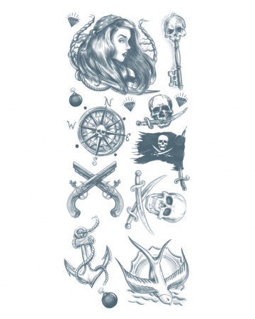 Glue Tattoo Set With Pirate Motives
