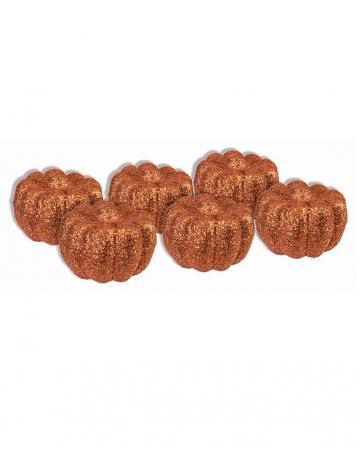 Small Halloween Glitter Pumpkins 6 Pcs.