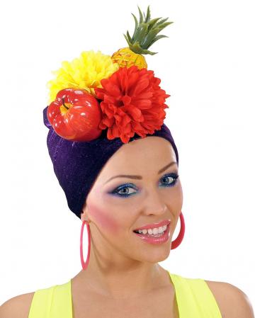 Damenhut Miranda mit Obst als Kostümzubehör