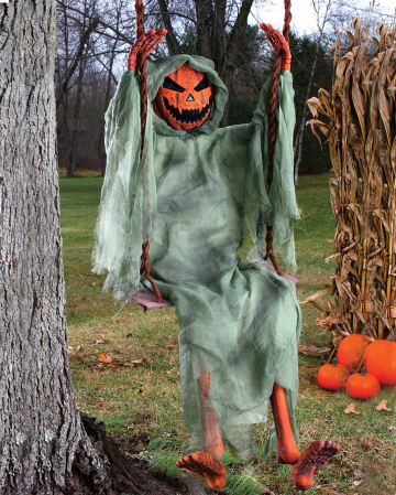 Pumpkin Skeleton On Swing 150 Cm