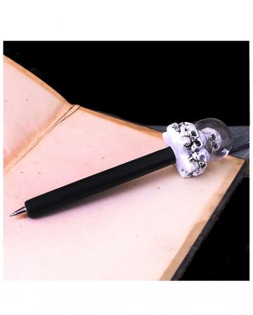 Kugelschreiber mit Totenschädel Glitzer Wasserkugel