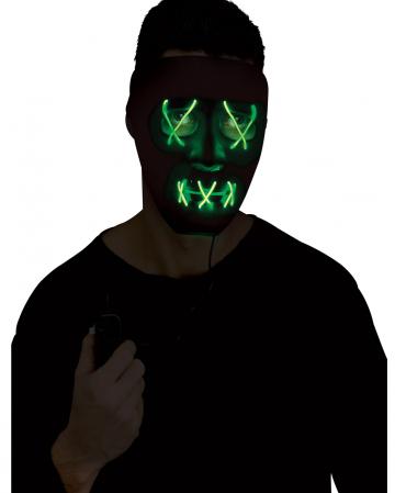 Glowing LED Mask Green - Black