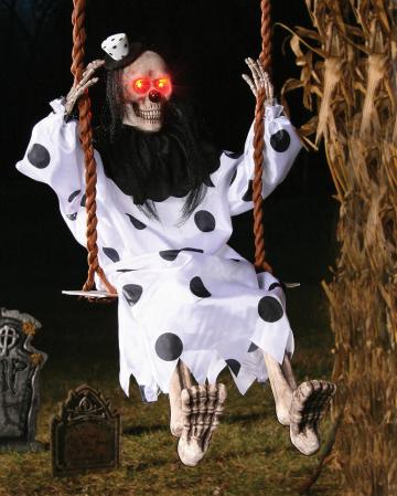 LED Clownskelett auf Schaukel 90 cm