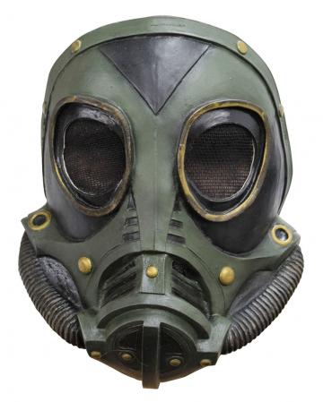 Steampunk latex gas mask green