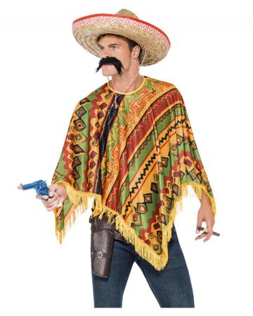 Mexikaner Poncho mit Bart