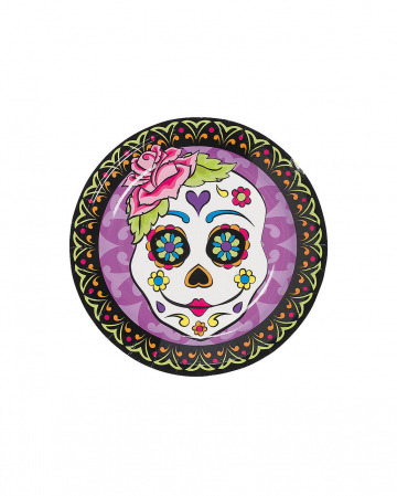 Mini Paper Plate Day Of The Dead 8 Pcs