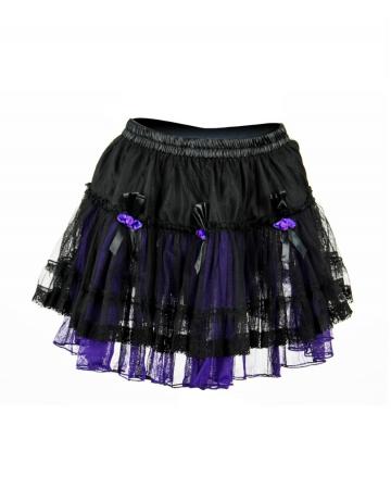 Mini Skirt Tulle black-purple with roses