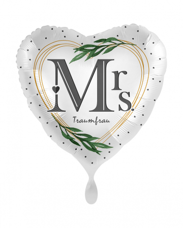 Mrs Dream Woman Heart Foil Balloon Satin