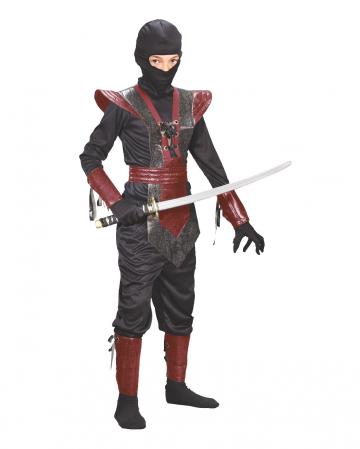 Schwarz-rotes Ninja Fighter Kinderkostüm