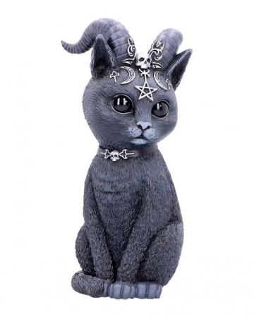 Mystische Katzenfigur mit Ziegenhörner 26,5cm