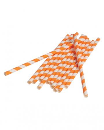 12 Papier Trinkhalme Orange Weiß