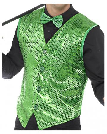 Grüne Pailletten Weste für Herren
