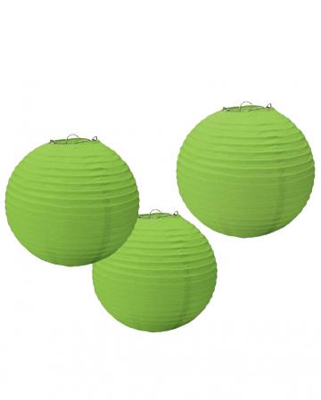 Lampion Set aus Papier 3 tlg. Grün