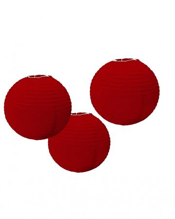 Lampion Set aus Papier 3 tlg. Rot