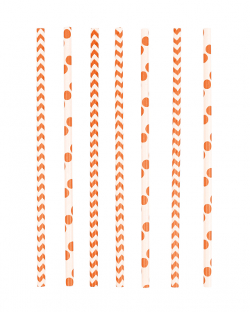 12 Papier Trinkhalme Orange