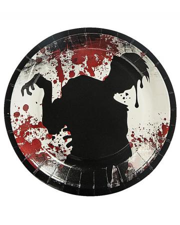Halloween paper plate zombie motif 8 pcs.