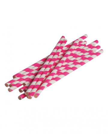 12 Papier Trinkhalme Pink Weiß