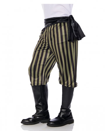 Pirate costume pants black-green striped